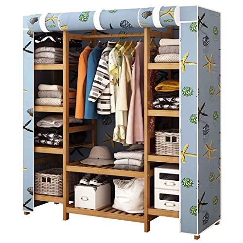 CENPEN Armarios de tela plegable Armario guardarropa Asamblea Percha for adultos Armario individual dormitorio doble Dormitorio