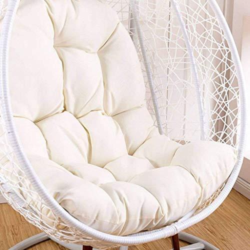 LYHY Hängendes Ei Stuhlkissen, hängendes Stuhlkissen, schwingendes hängendes Korbsitzkissen, hängendes Rattan Schaukelstuhl weiches Kissen-Weiß