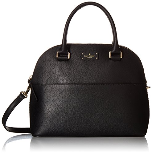 """Features gorgeous black saffiano leather Interior zipper pocket, cell phone / multifunction pockets Zip top closure, exterior slot pocket 13"""" double leather handles with longer strap for shoulder / crossbody wear Measures 9 """"H X 13.6""""L X 5""""W"""