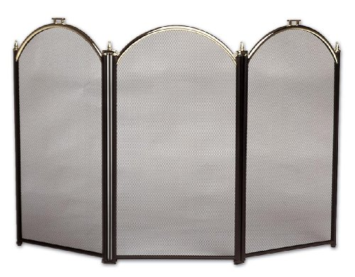 Acero Pantalla Triple Rejilla Plegable Negro 52,5 x 97 cm Relaxdays Salvachispas para la Chimenea