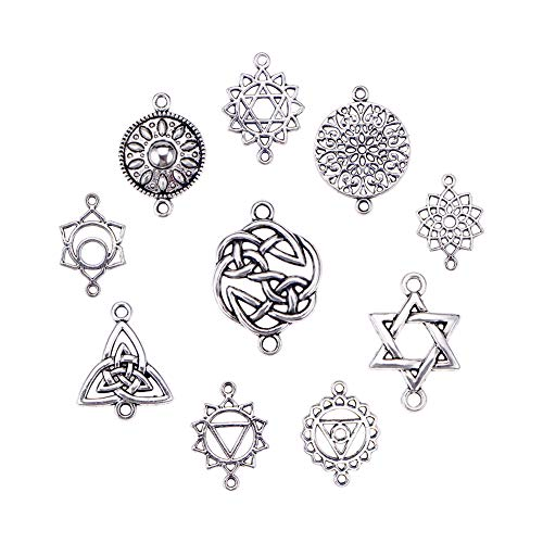 PH PandaHall 80pcs 10 Style Connector Charms Beads Tibetan Celtic Knot Heart Charms Pendants Beads Connector for DIY Dangling Earrings Necklace Bracelet Making, Antique Silver