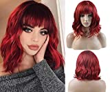 BERON 14 Inches Wine Red Wig Short Curly Wig Women Girl's Synthetic Wig Short Red Wig with Bangs Wig Cap Included