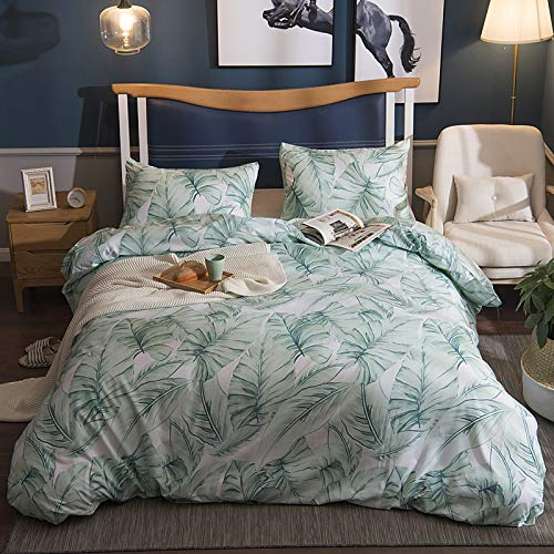 Botanical Brushed Bedding Sets, Single Size, Hotel Quality Floral Duvet Cover Set with Pillow Shams Tropical Leaf Soft Quilt Covers Easy Care, Green