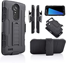 for ZTE MAX XL N9560/ ZTE Blade X MAX/Zmax Pro/Blade Max 3/ ZTE Kirk Z983 Hybrid Rugged Kickstand Grip Armor Tough Dual Layer Case with Belt Clip Holster (Black)