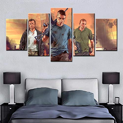 ELSFK - Cuadros Modernos Impresión de Imagen Artística Digitalizada | Lienzo Decorativo para Salón o Dormitorio | GTA 5 | 5 Piezas 150x80cm