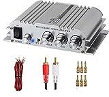 eSynic Amplificador de Potencia Hifi 2.1 Potencia de Audio Estéreo Digital AMP Clase D Amplificador Estéreo 2x40W Super Bass con 33 pies Cable de Altavoz Rojo/Negro 3 Pares 24k Conectores Chapados