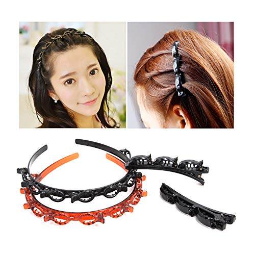 Fashion Double Layer Band Twist Plait Headband Hairpin Hair Claw Clips, Black Magic Double Bangs Hairstyle Hairpin Hair Twister Headband Hair Tools, Hair Accessories for Women, Girls