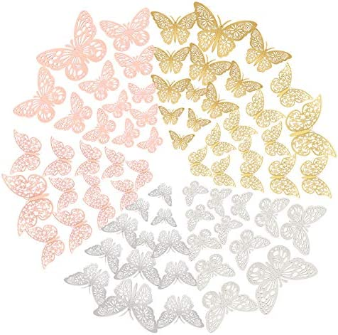 FOMTOR 3D Butterfly Wall Decor Paper Gold Butterflies Butterfly Cake Decorations for Cake Decorating product image