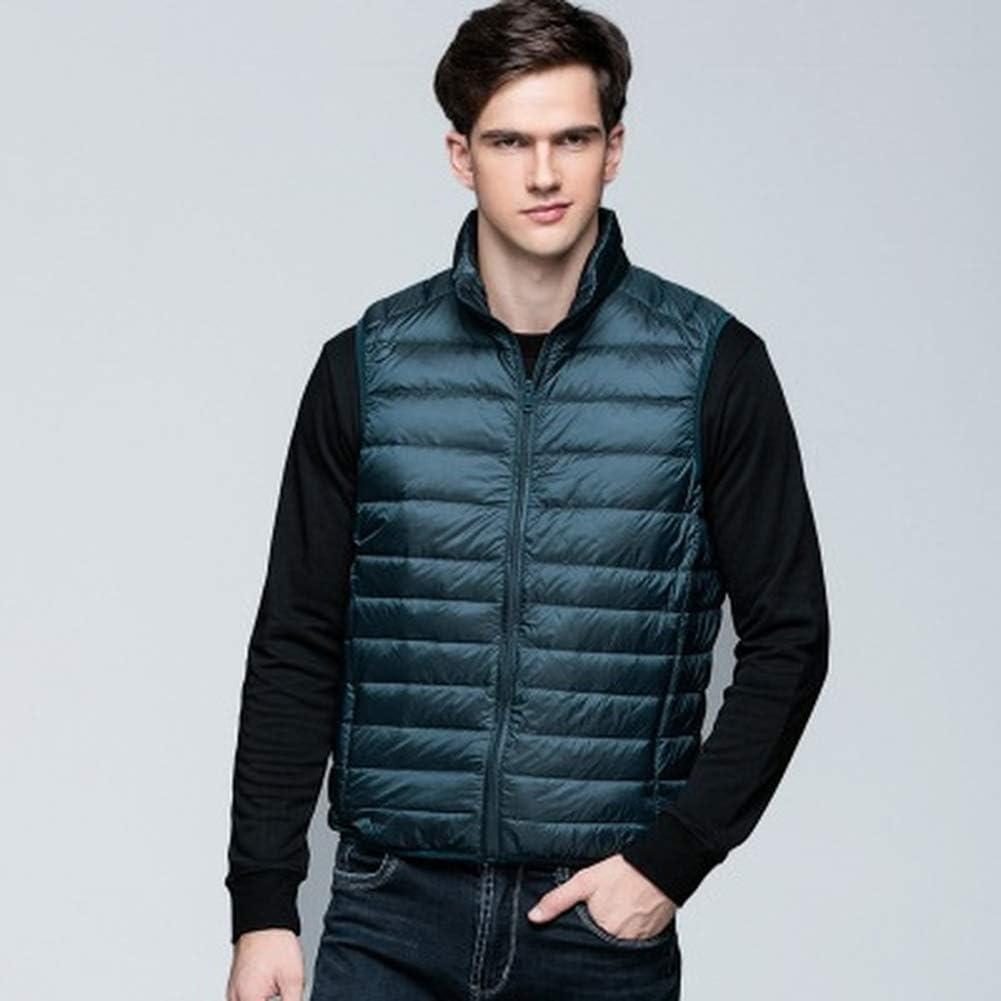 MIAOLEIE Men's Packable Lightweight Down Vest Winter Down Waistcoat Padded Outdoor Gilets Body Warmers Short Sleeveless Waistcoat,XXXL