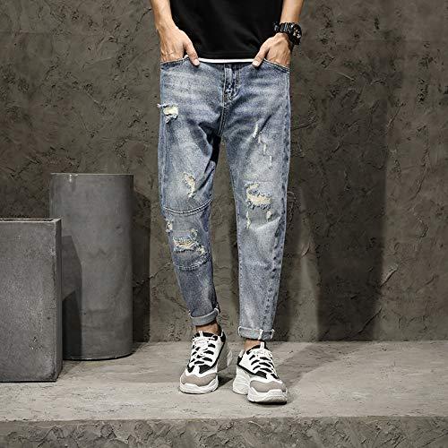 2020 primavera novo masculino jeans quebrado jeans tendência slim pequeno pé casual velho homem hahad calças macho (Color : 3305 Blue, Size : 31 EU)