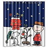 Eaiven Snoopy Christmas Shower Curtain, Funny Charlie Brown Waterproof Shower Curtains Navy Blue Bath Curtain Kids Cute Bathroom Set with Hooks for Valentine Spring Decoration Home Decor 72'X72'