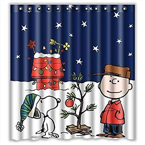 """Eaiven Snoopy Christmas Shower Curtain, Funny Charlie Brown Waterproof Shower Curtains Navy Blue Bath Curtain Kids Cute Bathroom Set with Hooks for Thanksgiving Halloween Decoration Home Decor 72""""X72"""""""