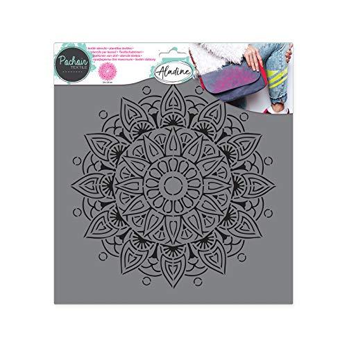 Aladine - Pochoir Textile Ethnique - Décoration sur Tissu - Pour Customiser Toiles, Tee-shirts, Tote Bags - Lavable - 28 x 28 cm - Grand Motif Graphique