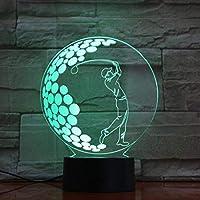 ゴルフ3D LEDナイトライトクリエイティブホームデコレーション3Dビジョン3Dビジュアル照明7色変更USB充電テーブルランプ誕生日プレゼントエンターテイメント装飾ギフト子供のおもちゃ [並行輸入品]