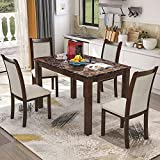 Harper&Bright Designs Dining Kitchen Table Set with Chairs - 5-Piece Kitchen Dining Table Set Include 1 Marble Top Table and 4 Burlap Chair