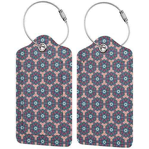 WINCAN Etiquetas para Equipaje,Mosaico marroquí Azulejos Hexagonal Ornamental Victoriano Cerámica Estilo Barroco,2 Piezas Etiquetas de Equipaje de Viaje Etiquetas de Identificación de la Malet