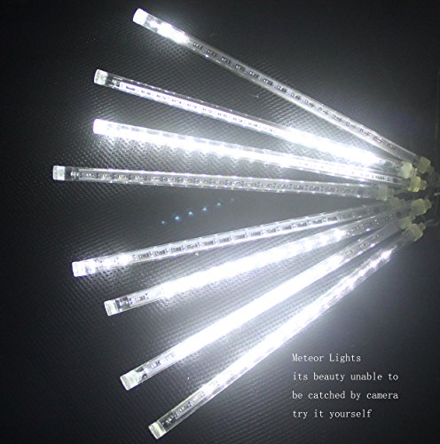 CDL 4sets Meteor Icicle Snow Falling Rain Drop 50cm 8 Tubes 240 LED Shower Christmas Raindrop Cascading Lights for Wedding Party Holiday Xmas Halloween Home Garden Tree Decoration (4, Cool White)
