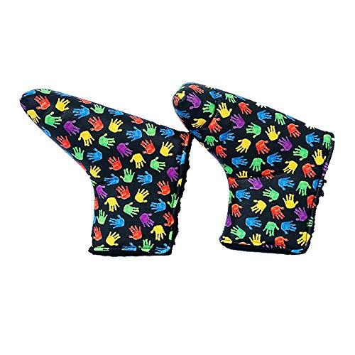 Zjcpow Schlägerkopfhüllen für Eisen PU Golf Club Covers bunten Wasserdichten Fuß-Typ Gerade Putter Sleeve (Color : Multi-Colored, Size : One Size)