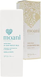 moani organics (モアニ・オーガニクス) UV SKIN PROTECT MILK (VANILLA WHITE) SPF50+ PA++++ 顔用日焼け止め (バニラホワイト)