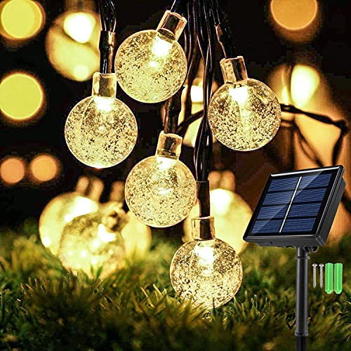 Solar String Lights Outdoor Garden, [50 LED] 31Ft Waterproof Crystal Ball Festival Fairy Lights, Solar Powered Decorative Lighting for Patio, Christmas, Party, Tree - Warm White [Energy Class A+++]
