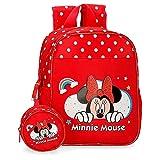 Disney Minnie Rainbow Mochila Guardería Rojo 21x25x10 cms Poliéster 5,75L