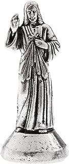 BINGFEI Metal Model Holy Jesus Figure Magnetic Statue Sculpture Art Craft Christian Amulet Gift for Men Women, 5/7cm,Silver 7cm 5cm