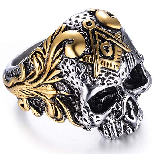 Jude Jewelers Stainless Steel Gothic Skull Vintage Masonic Biker Ring (Silver & Gold, 10)