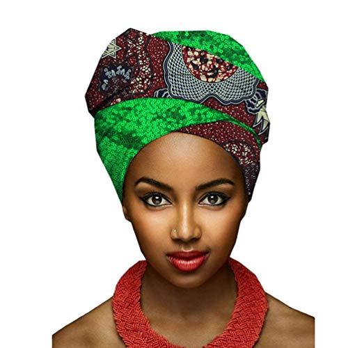 Mengyu Damen Atmungsaktiv Wrap Turban Afrikanischen Muster Bedruckte Kopftuch Kopfbedeckung Kopf Wickeln Schal (Style#12, 50 * 180cm)