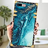 Square Case Compatible iPhone 7 Plus iPhone 8 Plus Case Blue Gold Marble Luxury Elegant Soft Shock Protection Case Cover Compatible iPhone 7 Plus/8 Plus 5.5 Inch