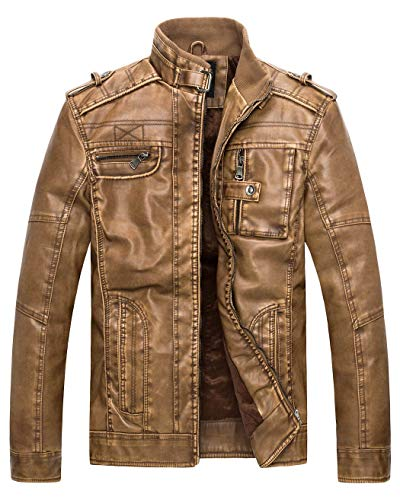 Wantdo Men's Vintage Stand Collar Faux Leather Jacket - US Small - Yellow