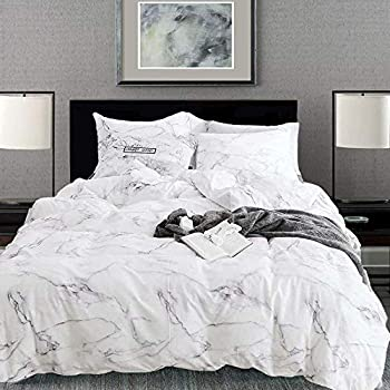 Karever White Marble Duvet Cover Sets
