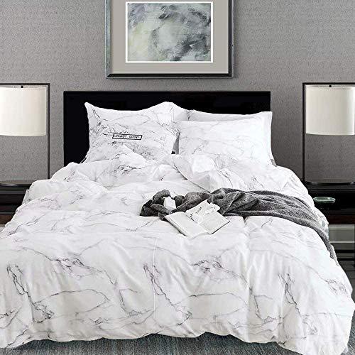 karever White Marble Duvet Cover Sets Queen Bedding Girls Cotton Full Grey Texture Pattern Printed on White Comforter Cover Set for Teen Girl Women (No Insert)