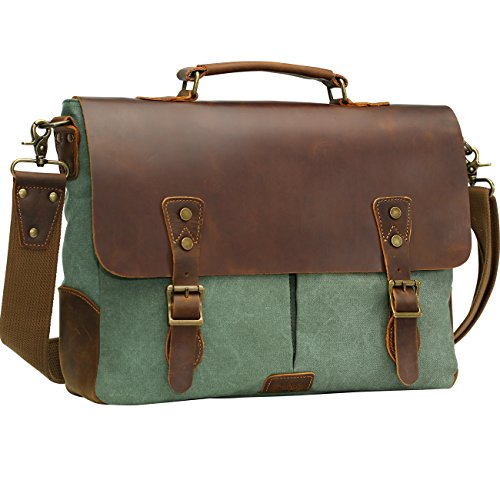 "WOWBOX Messenger Bag for Men 15.6"" Leather Laptop Satchel Briefcase Bags Green"