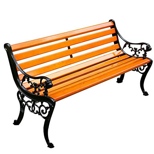 Banc de jardin extérieur, Banc de terrasse extérieur avec accoudoirs et dossier, Banc de parc avec structure en métal et sièges en bois massif résistant à la corrosion, Peut accueillir 2-3 personnes