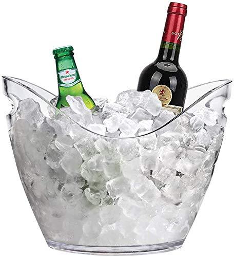 Secchiello per Ghiaccio in Plexiglass Trasparente Ovale 27x20x19 cm fino a 2 Bottiglie Cestello Portaghiaccio bouquet Spumanteria Champagneria in Plastica Acrilico bar, discoteca, ristorante