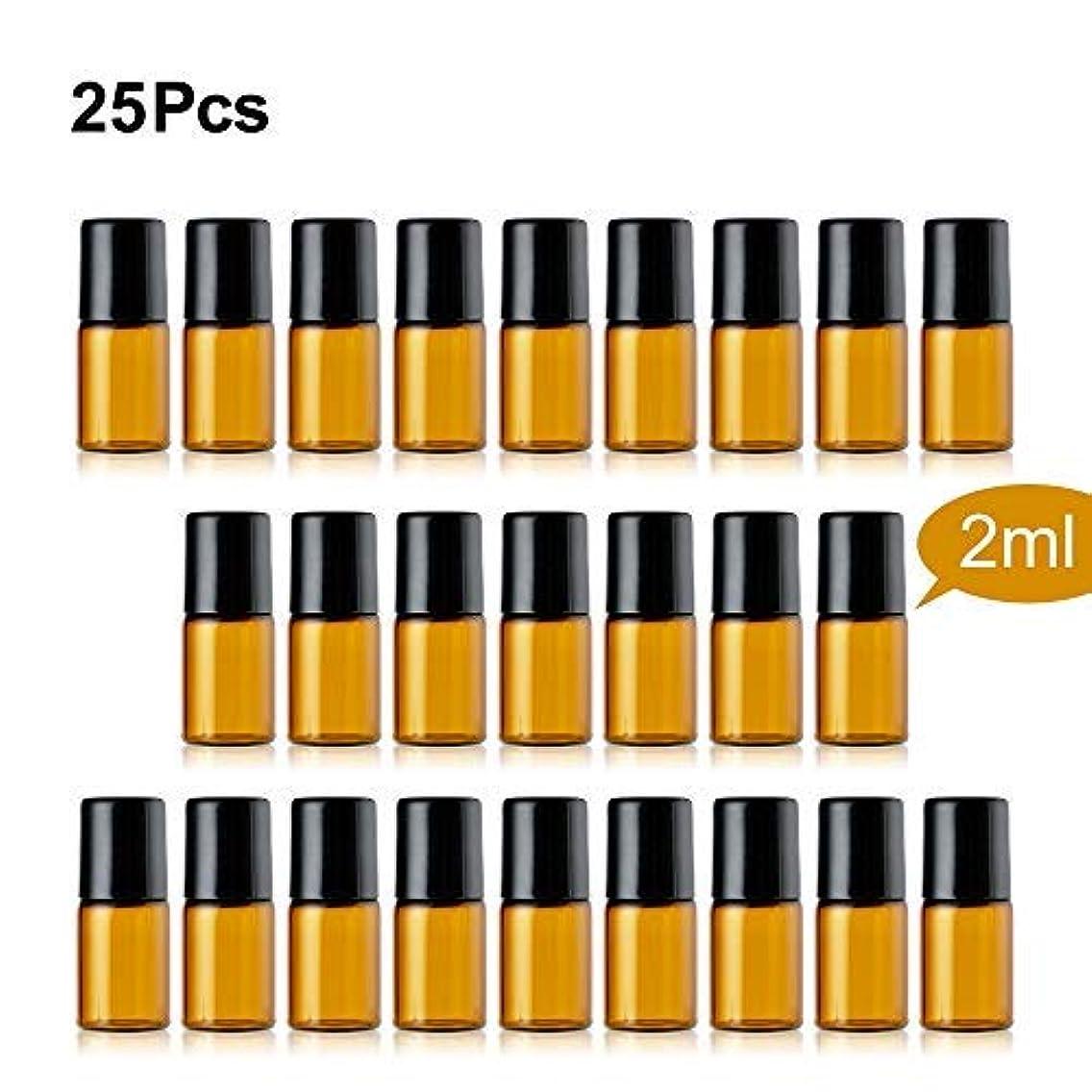 地平線お客様アコーTTBD Roller Ball Bottles, 25 Pcs 2ml Amber Refillable Essential Oil Roller Bottles with Stainless Steel Roller Balls & Black Caps [並行輸入品]
