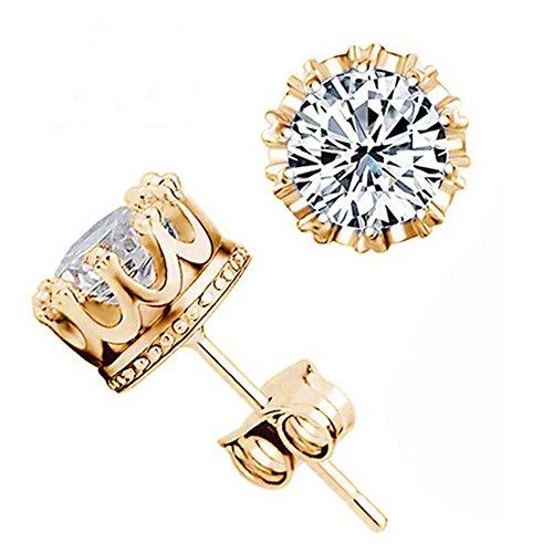 Gemini_Mall, orecchini a lobo con diamanti a forma di corona, eleganti e scintillanti, Gold + Silver, taglia unica