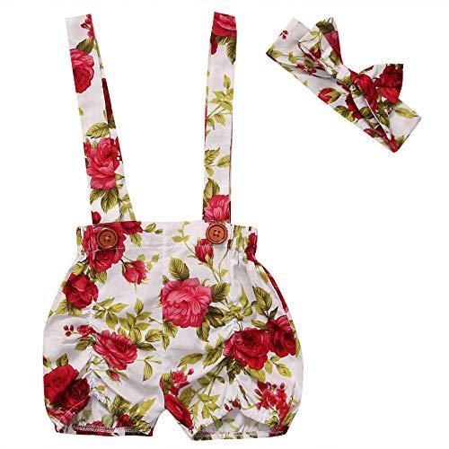 HOSD Shorts con Tirantes Florales de Verano para niños pequeños Paja