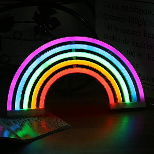 SADA72 Rainbow Neon Signs Lights Rainbow lámpara de pared Marquesina con batería o USB operado luces LED para decoración de pared dormitorio (batería)