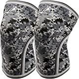 Knee Sleeves (1 Pair),7mm Compression Knee Braces for Heavy-Lifting,Squats,Gym and Other Sports (Camo Grey, X-Large)