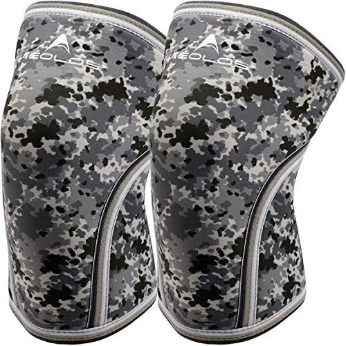 Knee Sleeves (1 Pair),7mm Compression Knee Braces for Heavy-Lifting,Squats,Gym and Other Sports (Camo Grey, Medium)