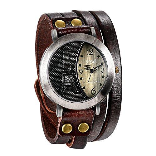 JewelryWe Herren Damen Armbanduhr, Braun Leder Armband Wickelarmband, Retro Eiffelturm Design mit Strass, Analog Quarz Uhr, einfaches Digital Zifferblatt