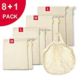 Organic Cotton Reusable Produce Bags, Mesh Produce Bags & Muslin Bulk Bin Bags for Grocery Shopping, Eco Friendly Drawstring bags for Vegetable Fruit Bread Storage, Tare Weight Tags, Washable, 9 Pack