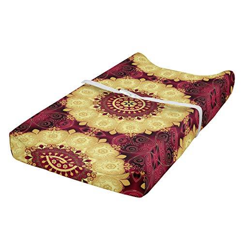 ABAKUHAUS Mandala púrpura Cubierta del cambiador, Antiguo Arte barroco, Funda blanda para el cambiador de pañales con agujeros para la hebilla de seguridad, marrón amarillo