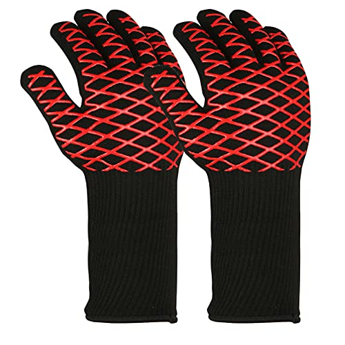 Keifen Oven Gloves,BBQ Gloves Oven Gloves 1472℉ Heat Resistant Food Grade Kitchen Grill Gloves Protective Grilling Mitts Silicone Cooking Gloves for Barbecue Cooking Baking