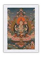 アバロキテシュヴァーラ、チャトゥルブジャ - 仏教絵画 c.1800s - シルク生地プリント 46 x 61cm
