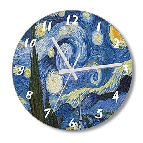 "CZHEZEE Starry Night - Printed Wall Clock Non-Ticking - Silent Wall Clock - Kids Clock - 10"" Decorative Frameless Clock Battery Operated - Contemporary Creative Wall Clock Round"