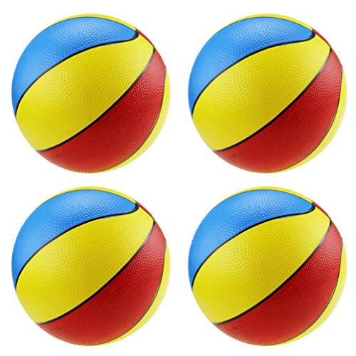 LIOOBO 4 Pcs Ballons de Plage Gonflables 8 5 Pouces PVC Coloré Basket-Ball en Plein Air Jeux D'intérieur Jouets pour Enfants Adultes Plage Jeux de Jeux