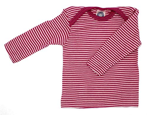 Cosilana Baby Schlupfhemd, Größe 62/68, Farbe geringelt Pep-Pink Natur - Wollbody®GmbH