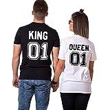 King Queen Couple Shirt Shirt 100% Coton Tees Shirts pour Roi Reine Imprimé 01 Manches Courtes Anniversaire Cadeau 2 Pièces Été(BK-King-M+wh-Queen-S)